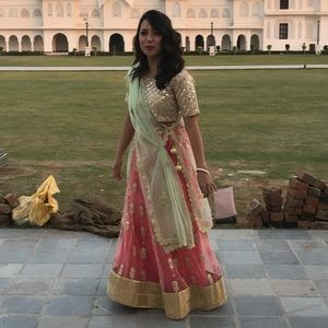Dresses & Skirts - Lehenga with Dupatta in Gold, Coral and Green